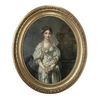 Mid-19th Century Large Framed Oval Oil Portrait on Canvas For Sale