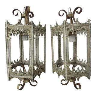 Vintage French Iron Lanterns - a Pair For Sale