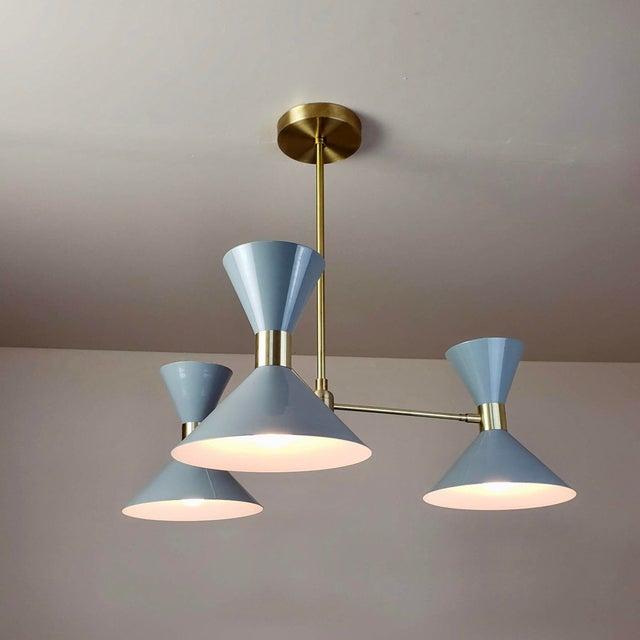 Blueprint Lighting 'Monarch' 3-Arm Modern Brass and Gray Enamel Pendant by Blueprint Lighting For Sale - Image 4 of 4
