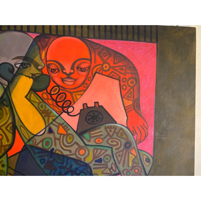 Late 20th Century Late 20th Century Contemporary Figurative Abstract Oil Painting For Sale - Image 5 of 8