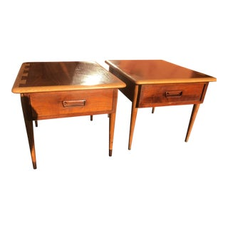 1960s Mid-Century Acclaim Lane Oak & Walnut Side Tables - a Pair For Sale