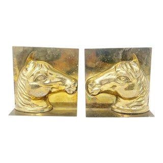 VintageSolid Brass Horse Head Bookends - a Pair For Sale