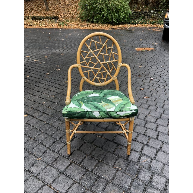 Vintage McGuire Palm Cushion Cracked Ice Rattan Chair - Image 11 of 11