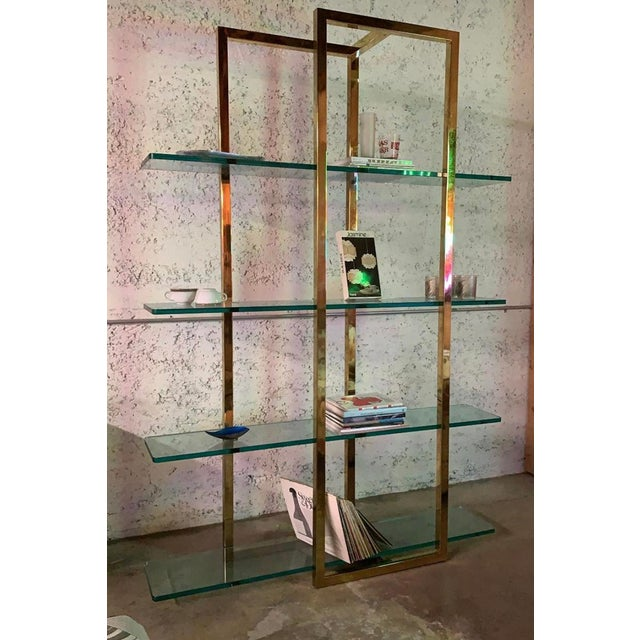 """Stunning Vintage Architectural Brass Etagere in the Manner of Milo Baughman Thick Square Structure and nearly 1"""" thick..."""