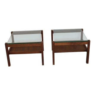 Mid-Century Modern Walnut & Glass Side Tables - a Pair For Sale