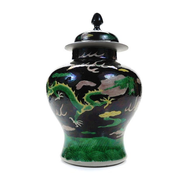 "Mid 19th Century Chinese ""Famille Noir"" Porcelain Dragon Ginger Jar For Sale - Image 5 of 9"