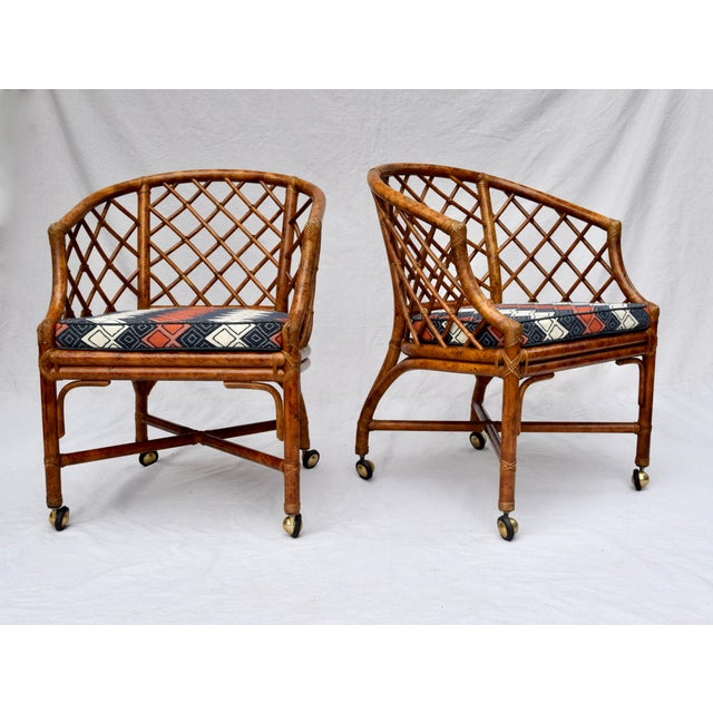 Chinoiserie Chinese Chippendale Rattan Barrel Chairs on Casters For Sale - Image 13 of 13