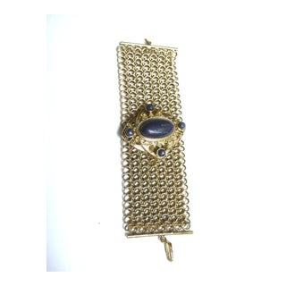 1980s Glass Stone Wide Gilt Metal Chain Bracelet For Sale