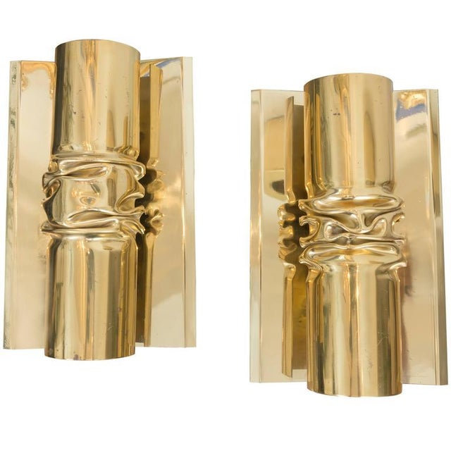 Brutalist Italian Brass Sconces - A Pair - Image 6 of 6