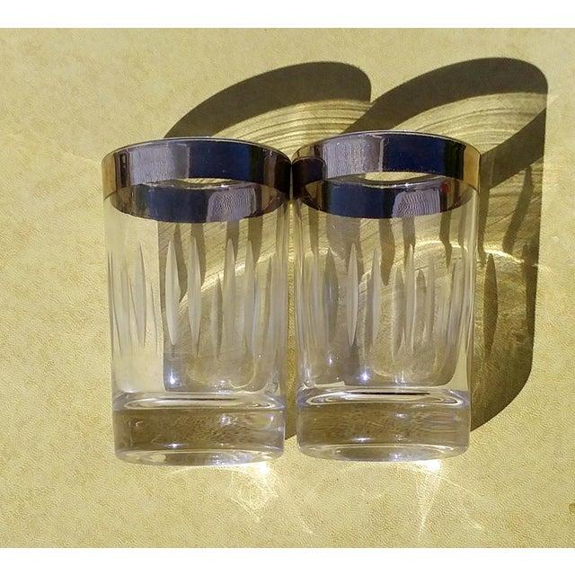 Silver-Rim Cut-Crystal Shot Glasses - A Pair - Image 5 of 6