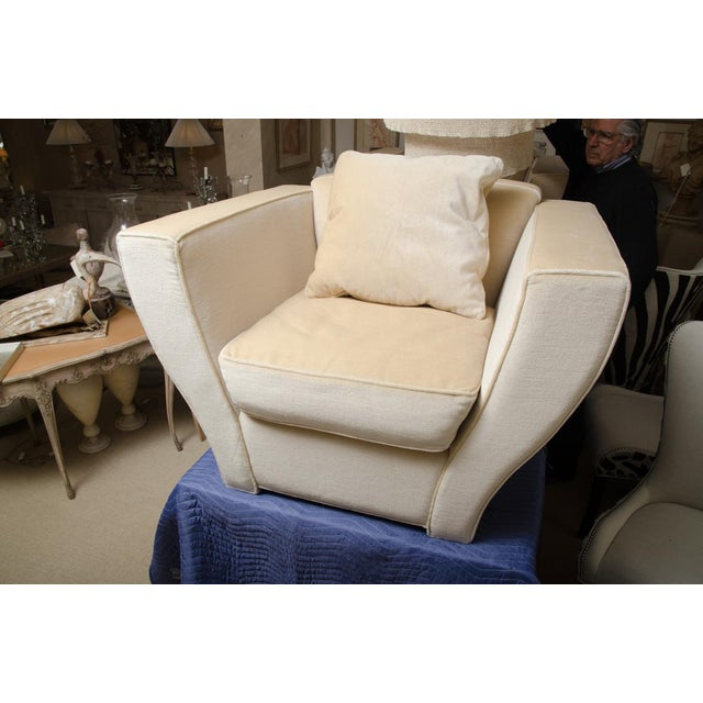 Very comfortable Brueton oversized lounge chair covered in mohair. There are 2 available