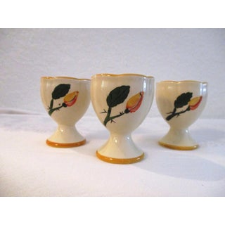 1950s Yellow Floral Pottery Egg Cups - Set of 6 Preview