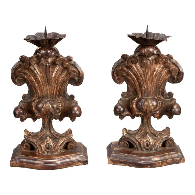Italian Bronze Carved Wood Candle Holder Amphoras - A Pair For Sale
