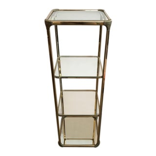 Vintage French Etagere with Glass Shelves and Mirrored Base