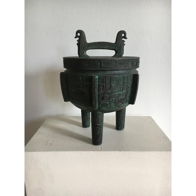 Vintage aluminum James Mont style ice bucket. A faux bronze verdigris patina makes this piece appear to be out of a Mayan...