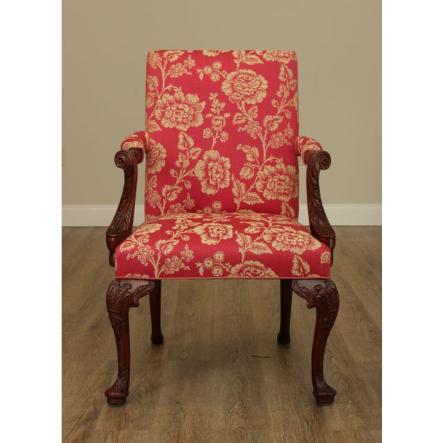 1990s Georgian Style Custom Quality Carved Mahogany & Upholstered Set 10 Dining Chairs For Sale - Image 5 of 13