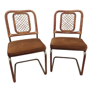 Stoneville Furn. Co. Mid Century Bamboo Reed Back Metal Dining Chairs - a Pair For Sale