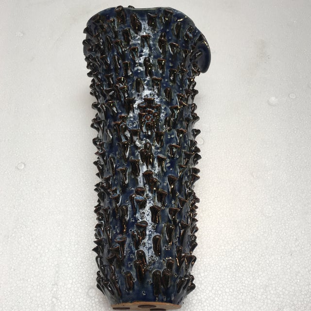 2010s Abstract Sapphire Blue Textured Pottery Vase For Sale - Image 5 of 7