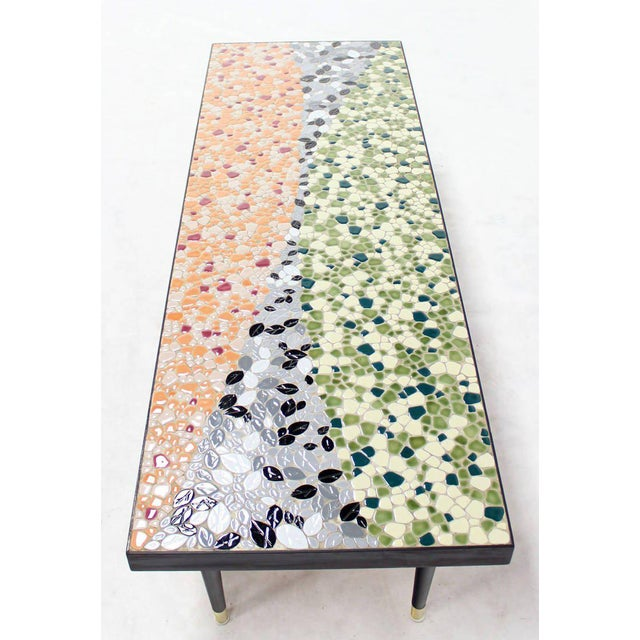 Green Mid-Century Modern Art Mosaic Top Long Rectangular Table For Sale - Image 8 of 8