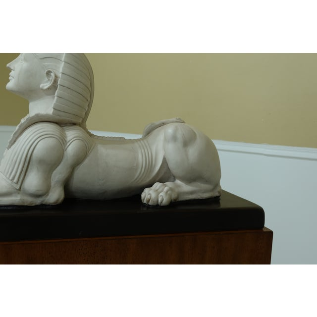 Theodore Alexander Sphinx Statue on Wood Base & Pedestal For Sale In Philadelphia - Image 6 of 11
