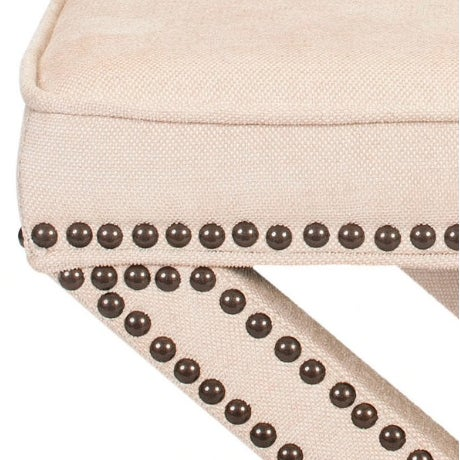 Linen Nailhead X-Bench Ottoman - a Pair For Sale - Image 4 of 8