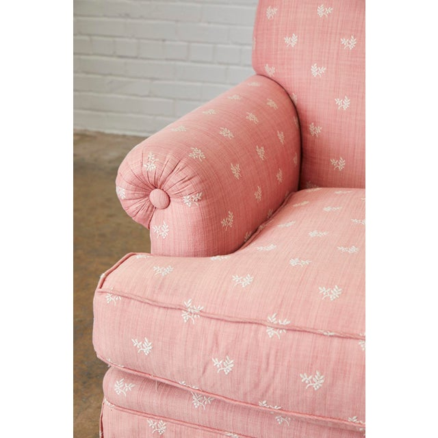 Pair of English Style Upholstered Club Chairs With Ottoman For Sale - Image 9 of 13