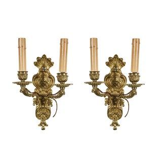 Continental Bronze Sconces - a Pair For Sale