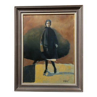 Girl With a Black Coat -1961 Mid Century Modern Oil Painting by Weber For Sale
