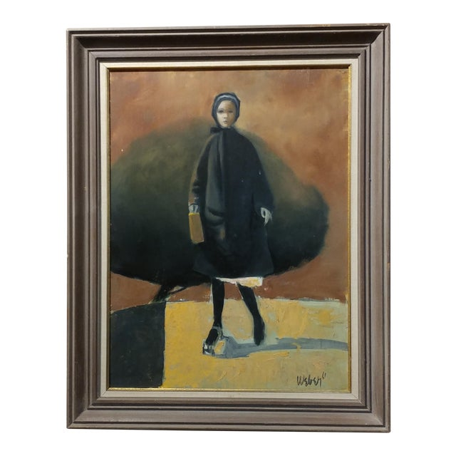 Girl with a Black Coat -1961 Mid century Modern Oil painting by Weber - Image 1 of 10