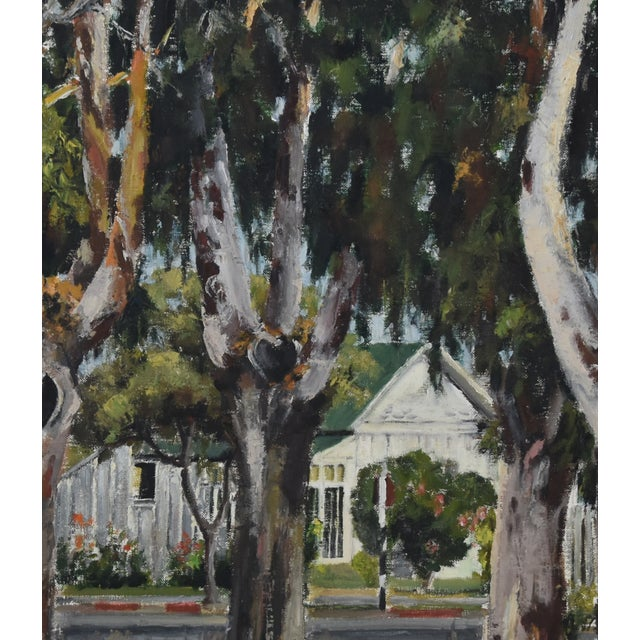 1950s Dorothy Neal, Cottage and Grove of Trees Landscape Oil Painting For Sale In Los Angeles - Image 6 of 11