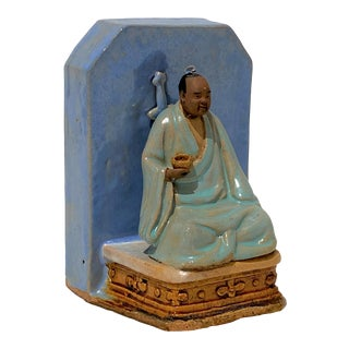 Antique Early 20c Figurine Buddha With Alms Bowl in Glazed Pottery For Sale
