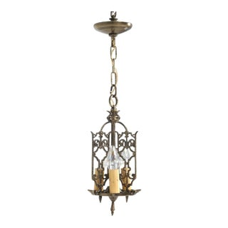 Chandelier American Solid Brass Circa 1908 For Sale