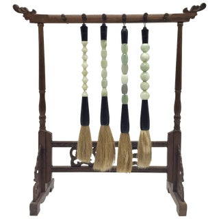 Chinese Jade Serpentine Brush and Stand, Set of Five For Sale
