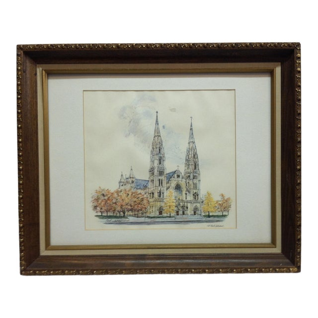 """1970s Vintage""""St. Paul's Cathedral"""" Framed & Matted Pittsburgh, Pa Print For Sale"""