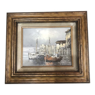Late 20th Century W.Jones Signed Ocean and Boat Scene Painting For Sale