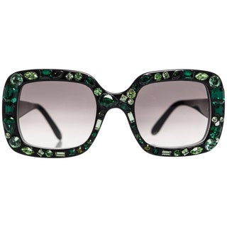 2009 Lanvin Emerald Jeweled Sunglasses For Sale