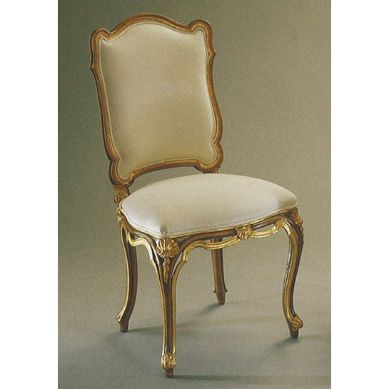Italian Gold & White Hand Carved Wood Chair - Image 2 of 3