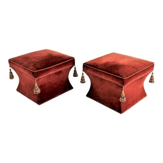 1970s Hollywood Regency Baker Velvet Ottomans With Tassels - a Pair For Sale