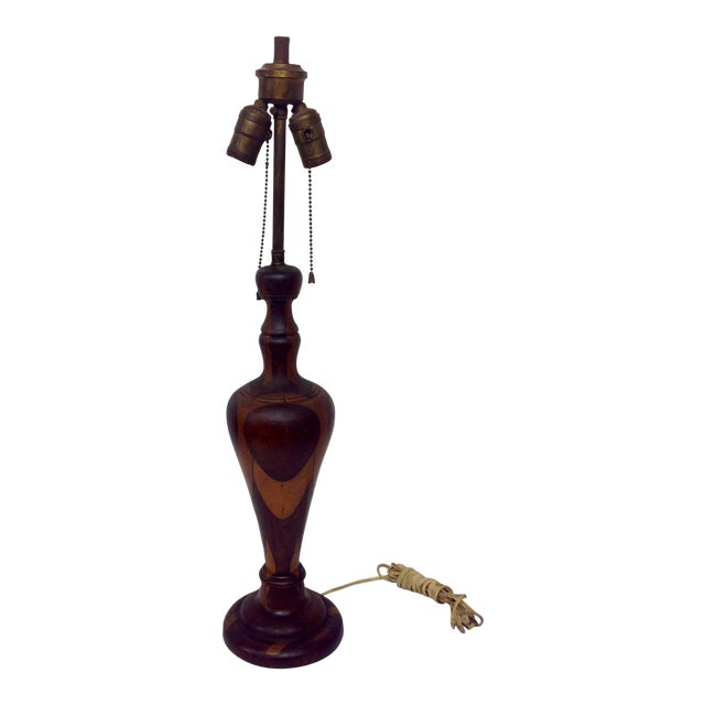 Antique Marquetry Style Hand Turned Wood Lamp - Image 8 of 8