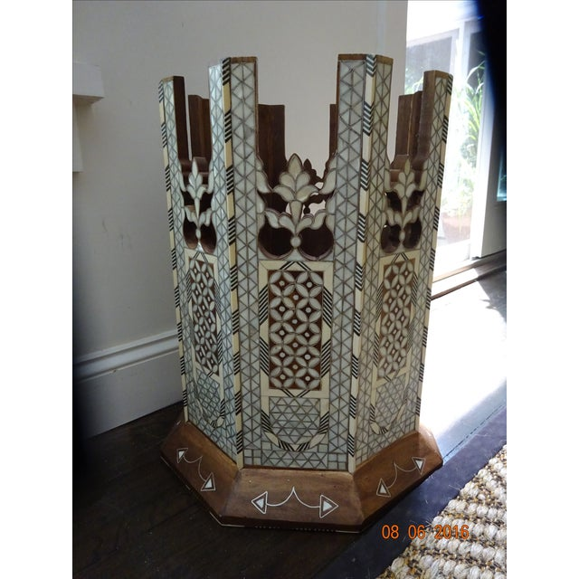 Syrian or Moroccan Mother of Pearl Inlay Side Table - Image 8 of 9