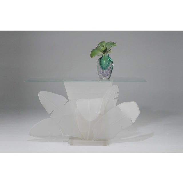 1970s Luminous Electrified Frosted Lucite Palm Motife Console Table For Sale - Image 5 of 13