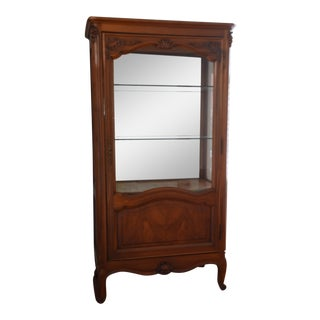 French Louis XV Style Cherry Wood Curio Cabinet