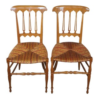 2Antique Biedermeier Solid Maple Parlor Dining Side Accent Chairs Wicker Seat - a Pair For Sale