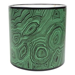Small Malachite Drum Lamp Shade With Cole & Son Emerald Wallpaper For Sale