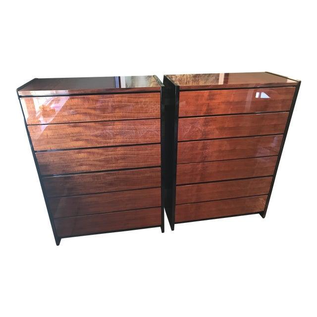 Henredon Black Lacquer & Koa Wood Dressers - A Pair - Image 1 of 11