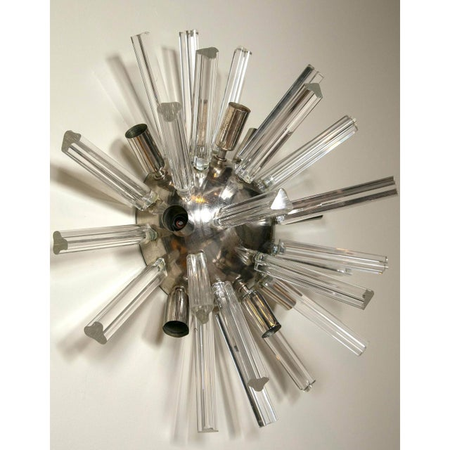 1970s Italian Art Deco Spherical Crystal Sconces- A Pair For Sale - Image 5 of 6
