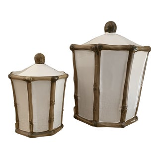 Vintage Italian Ceramic Faux Bamboo Lidded Jars - a Pair For Sale