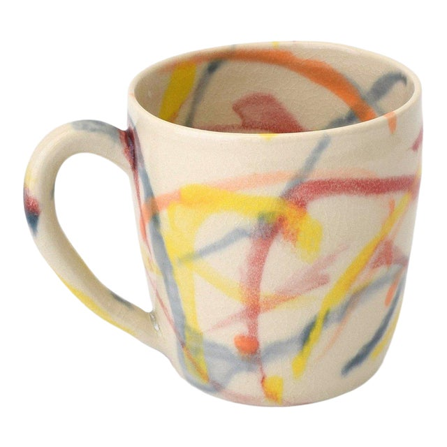 "Contemporary Handmade Multi Color ""Spray Paint"" Mug by Fisheye Ceramics For Sale"