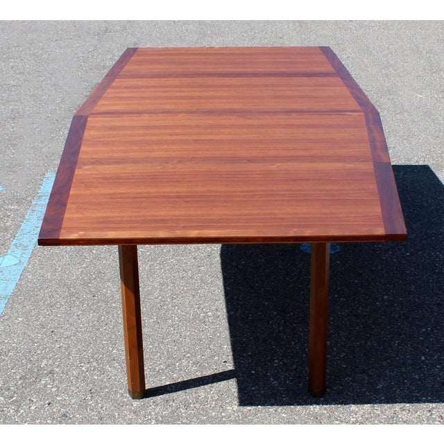 Brown Mid-Century Modern Dunbar Expandable Dining Table For Sale - Image 8 of 10
