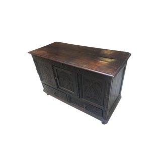 Antique Carved Black Oak Pilgrim's Trunk For Sale